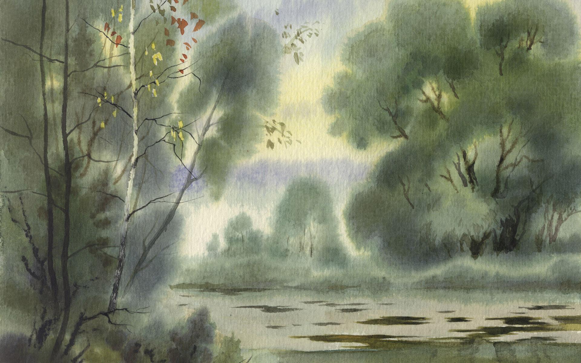 壁纸1920×1200水彩景色 1 14壁纸 动植风光 水彩景色 第一辑壁纸图片绘画壁纸绘画图片素材桌面壁纸