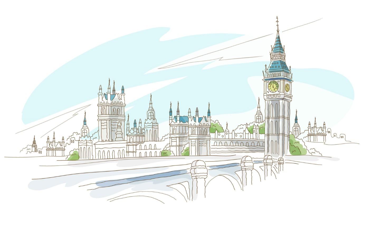 简笔城市风光壁纸图片绘画壁纸绘画图片素材