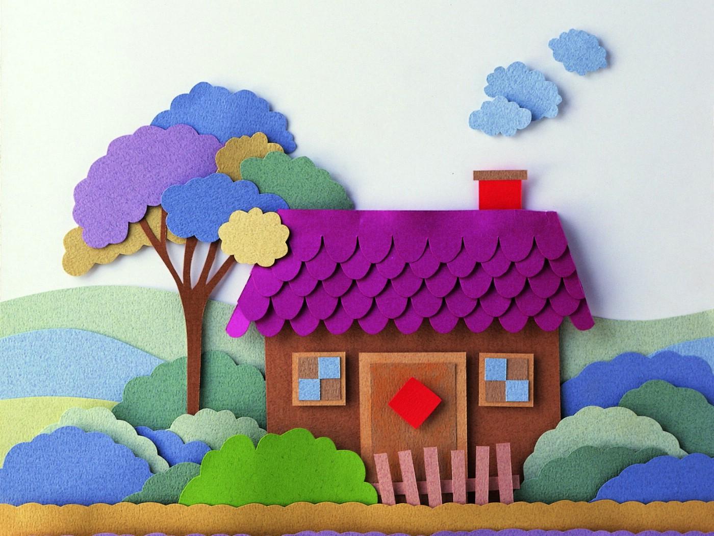 壁纸1400×1050剪纸贴画