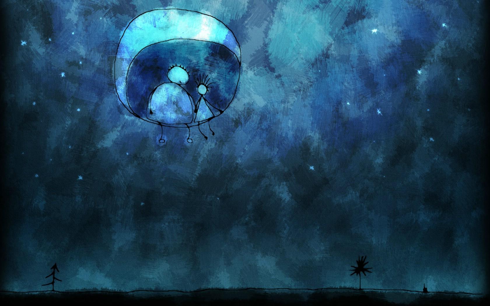 动漫凄美月亮图