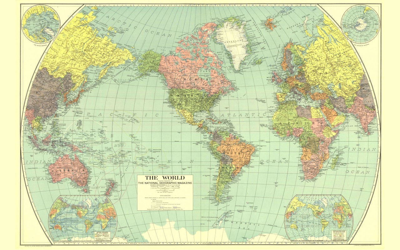 壁纸1280×800超大世界地图