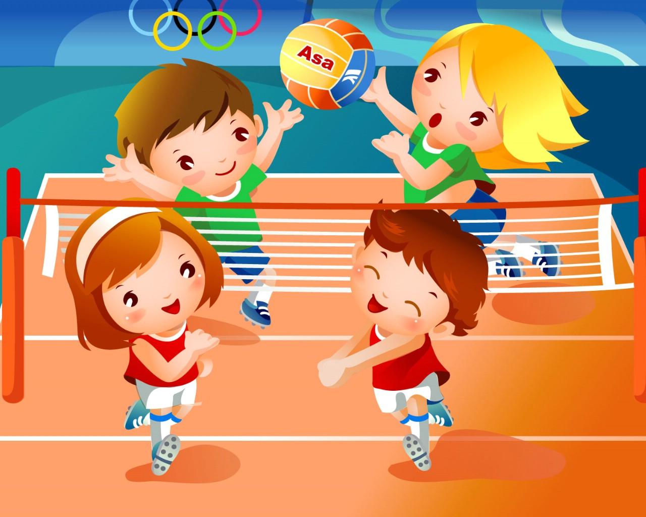 儿童运动会 儿童排球运动卡通图片 高清图片