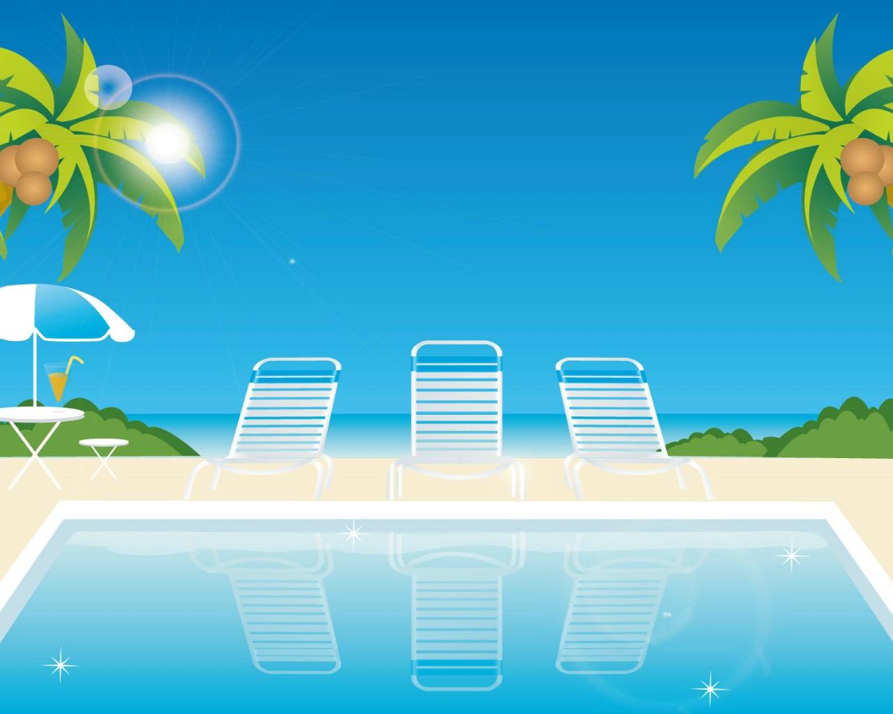壁纸1280×1024矢量夏日海滩 1 20壁纸 矢量风光 矢量夏日海滩 第一辑壁纸图片矢量壁纸矢量图片素材桌面壁纸