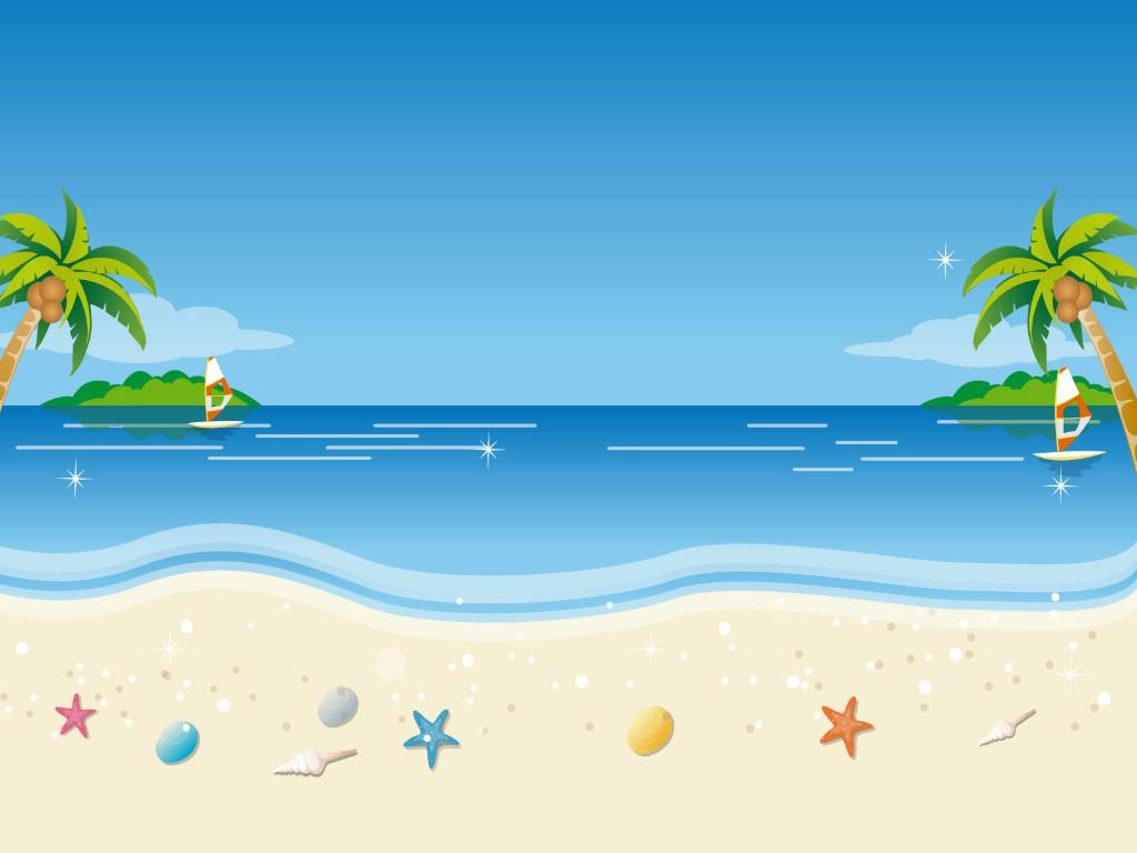 壁纸1024×768矢量夏日海滩 1 18壁纸 矢量风光 矢量夏日海滩 第一辑壁纸图片矢量壁纸矢量图片素材桌面壁纸