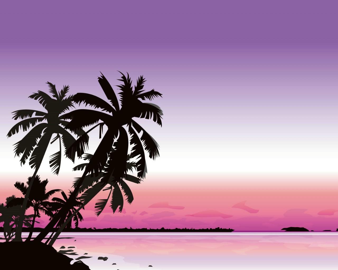 壁纸1280×1024矢量夏日海滩 1 14壁纸 矢量风光 矢量夏日海滩 第一辑壁纸图片矢量壁纸矢量图片素材桌面壁纸