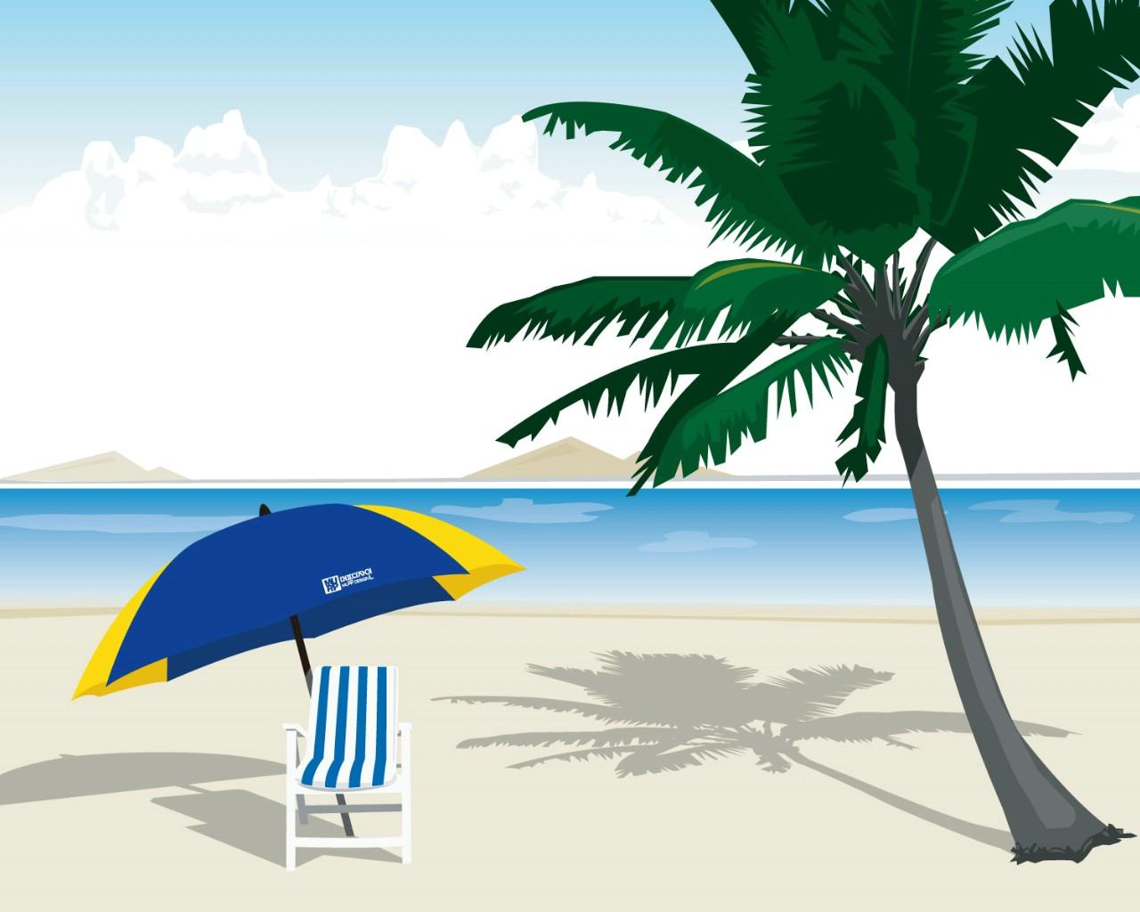壁纸1280×1024矢量夏日海滩 1 13壁纸 矢量风光 矢量夏日海滩 第一辑壁纸图片矢量壁纸矢量图片素材桌面壁纸