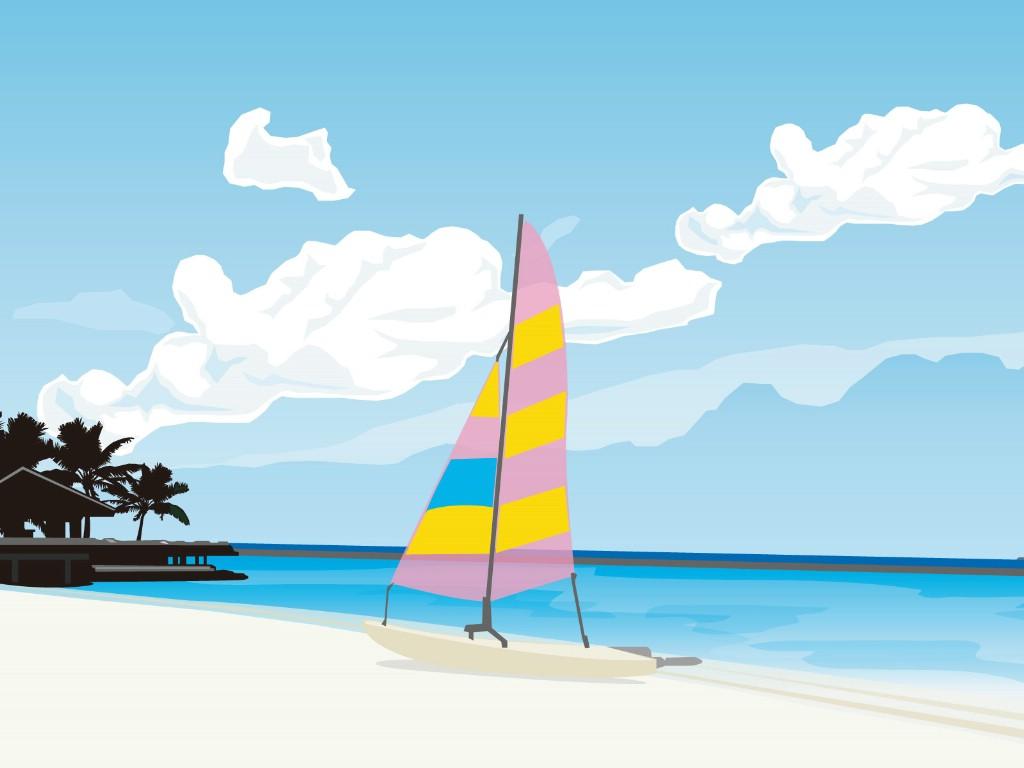 壁纸1024×768矢量夏日海滩 1 10壁纸 矢量风光 矢量夏日海滩 第一辑壁纸图片矢量壁纸矢量图片素材桌面壁纸