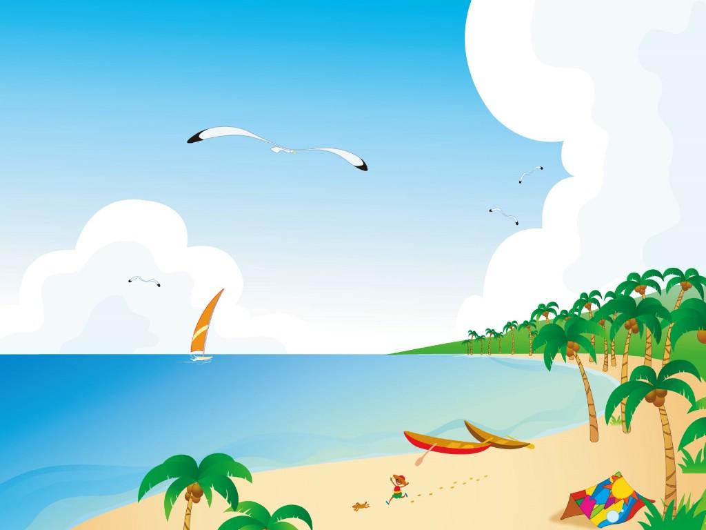 壁纸1024×768矢量夏日海滩 1 9壁纸 矢量风光 矢量夏日海滩 第一辑壁纸图片矢量壁纸矢量图片素材桌面壁纸
