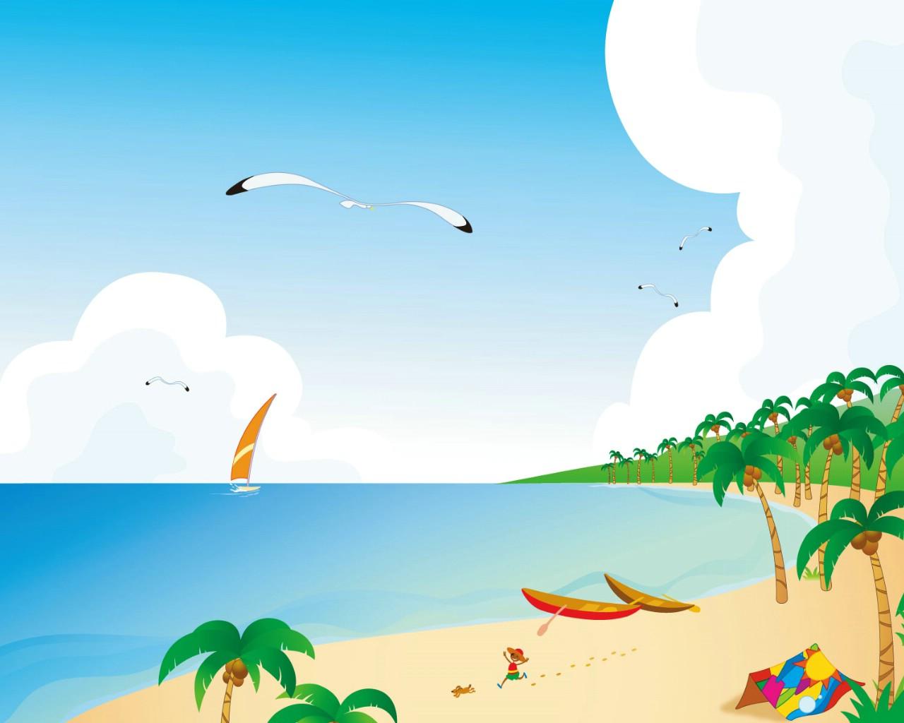 壁纸1280×1024矢量夏日海滩 1 9壁纸 矢量风光 矢量夏日海滩 第一辑壁纸图片矢量壁纸矢量图片素材桌面壁纸