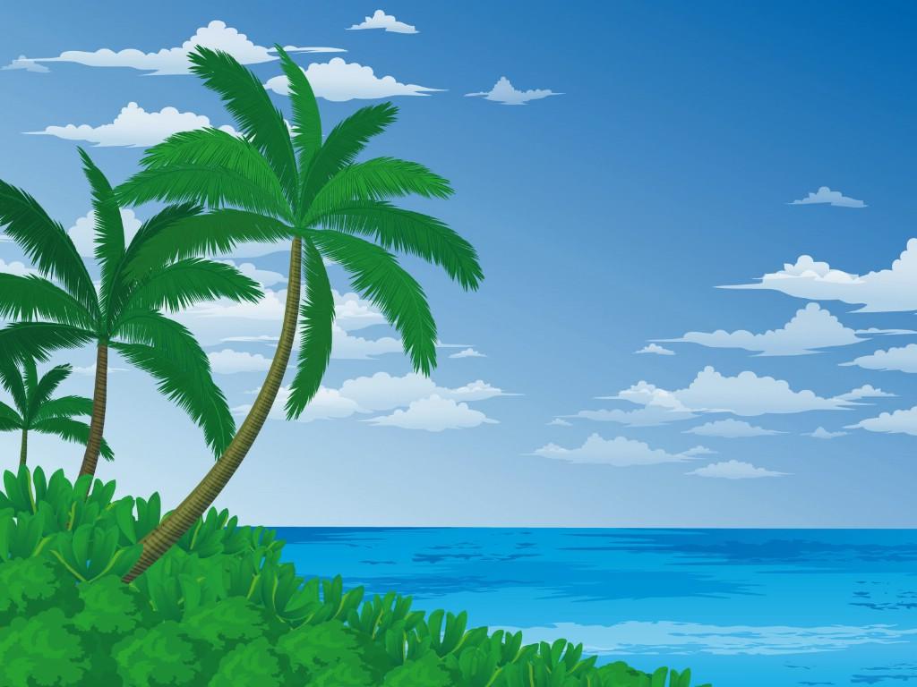 壁纸1024×768矢量夏日海滩 1 8壁纸 矢量风光 矢量夏日海滩 第一辑壁纸图片矢量壁纸矢量图片素材桌面壁纸