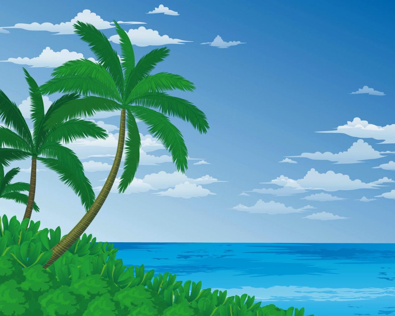 壁纸1280×1024矢量夏日海滩 1 8壁纸 矢量风光 矢量夏日海滩 第一辑壁纸图片矢量壁纸矢量图片素材桌面壁纸