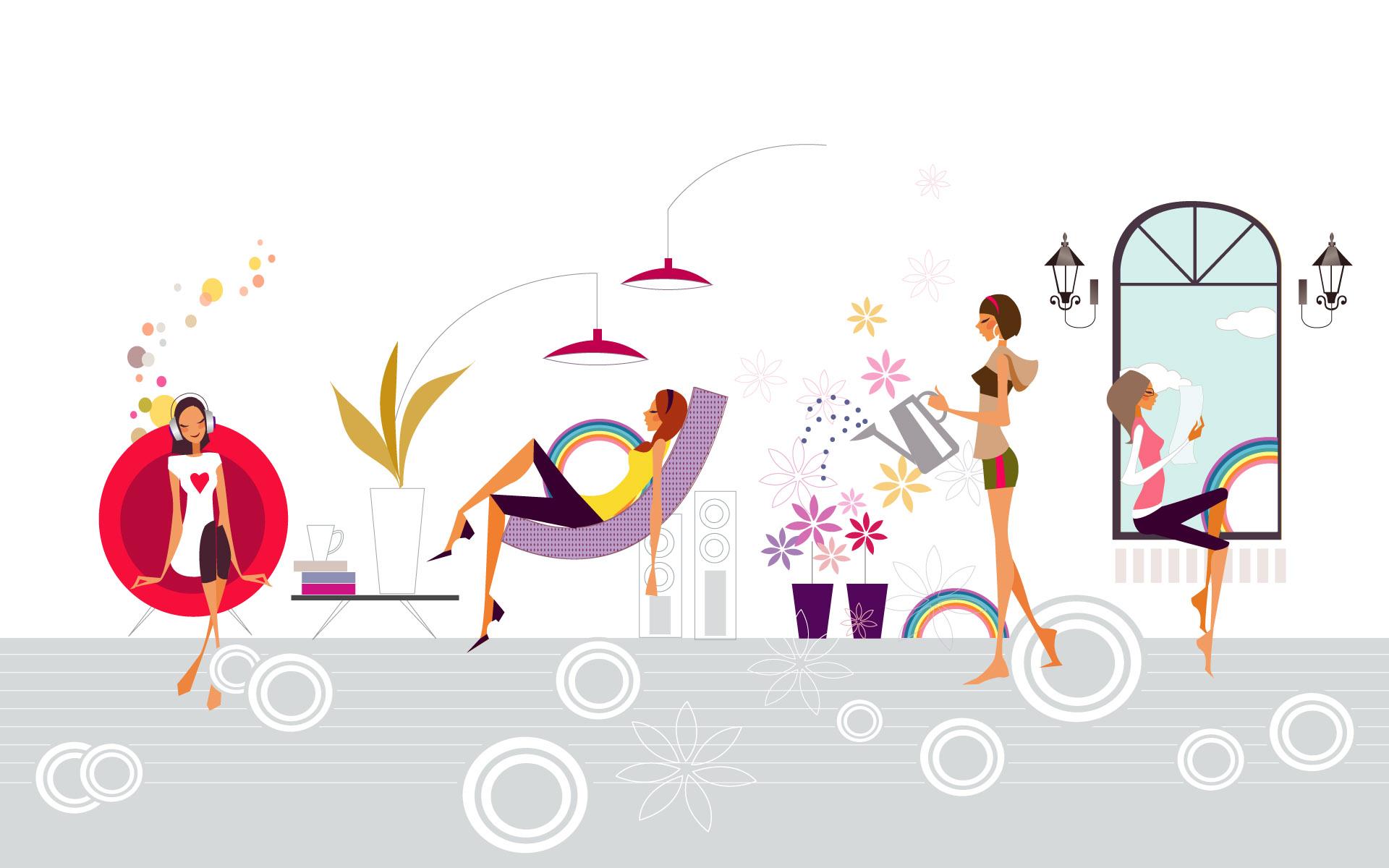 壁纸1920×1200矢量时尚女孩 12 9壁纸 矢量时尚女孩壁纸图片矢量壁纸矢量图片素材桌面壁纸