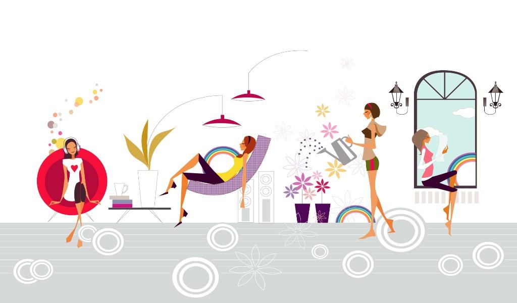 壁纸1024×600矢量时尚女孩 12 9壁纸 矢量时尚女孩壁纸图片矢量壁纸矢量图片素材桌面壁纸